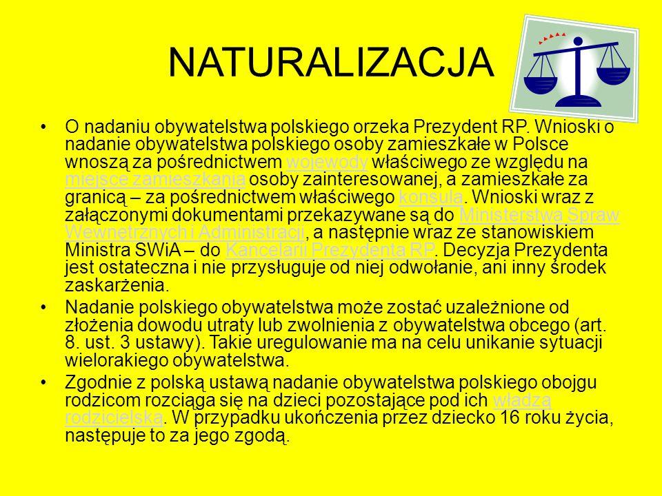 NATURALIZACJA O nadaniu obywatelstwa polskiego orzeka Prezydent RP. Wnioski o nadanie obywatelstwa polskiego osoby zamieszkałe w Polsce wnoszą za pośr