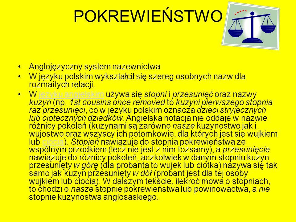 POKREWIEŃSTWO Anglojęzyczny system nazewnictwa W języku polskim wykształcił się szereg osobnych nazw dla rozmaitych relacji. W języku angielskim używa