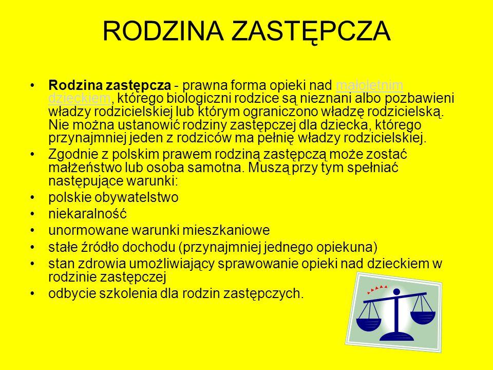 RODZINA ZASTĘPCZA Rodzina zastępcza - prawna forma opieki nad małoletnim dzieckiem, którego biologiczni rodzice są nieznani albo pozbawieni władzy rod
