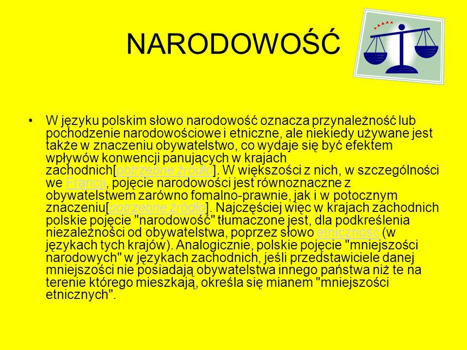 NARODOWOŚĆ W języku polskim słowo narodowość oznacza przynależność lub pochodzenie narodowościowe i etniczne, ale niekiedy używane jest także w znacze