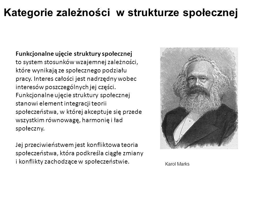 Kategorie zależności w strukturze społecznej Funkcjonalne ujęcie struktury społecznej to system stosunków wzajemnej zależności, które wynikają ze społecznego podziału pracy.