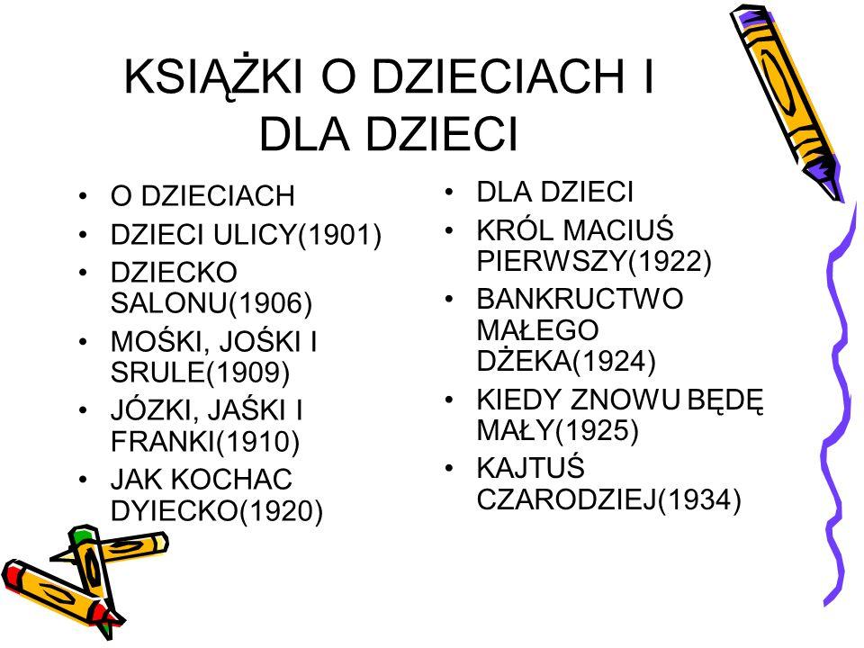 KSIĄŻKI O DZIECIACH I DLA DZIECI O DZIECIACH DZIECI ULICY(1901) DZIECKO SALONU(1906) MOŚKI, JOŚKI I SRULE(1909) JÓZKI, JAŚKI I FRANKI(1910) JAK KOCHAC