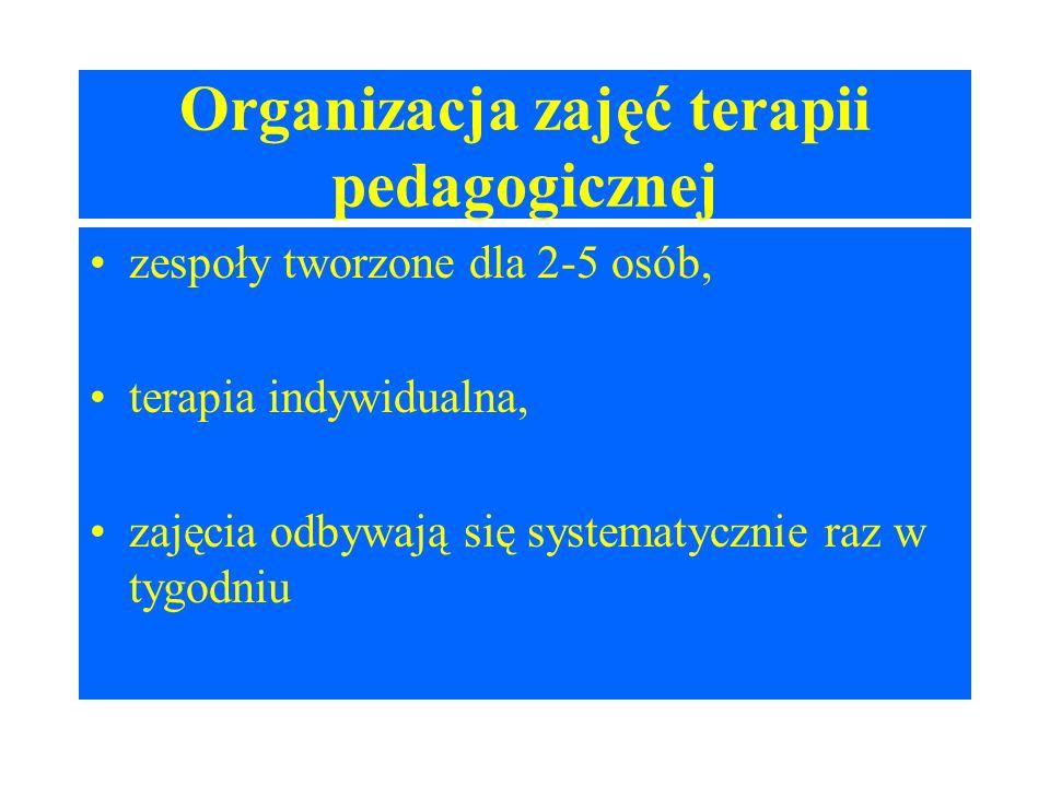 Organizacja zajęć terapii pedagogicznej zespoły tworzone dla 2-5 osób, terapia indywidualna, zajęcia odbywają się systematycznie raz w tygodniu