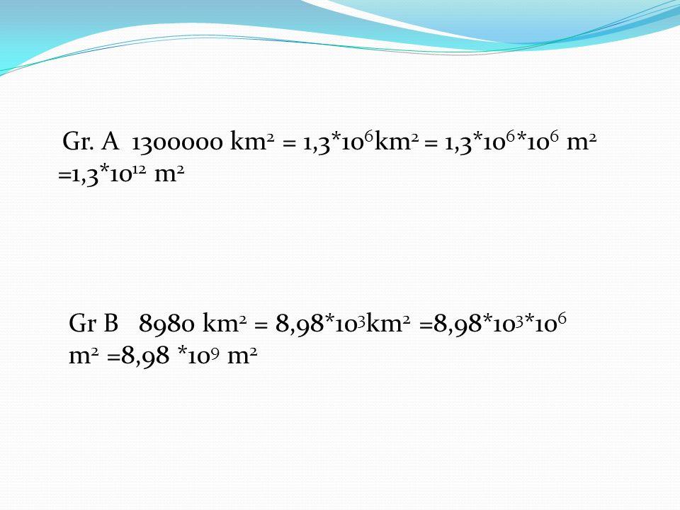 Gr. A 1300000 km 2 = 1,3*10 6 km 2 = 1,3*10 6 *10 6 m 2 =1,3*10 12 m 2 Gr B 8980 km 2 = 8,98*10 3 km 2 =8,98*10 3 *10 6 m 2 =8,98 *10 9 m 2