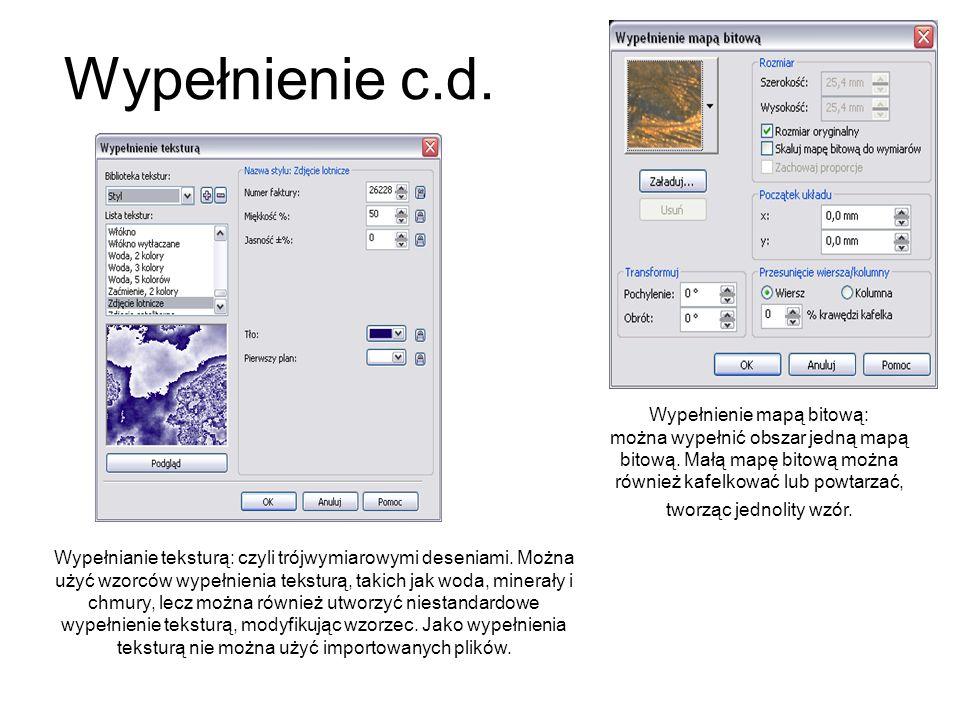 Wypełnienie c.d. Wypełnienie mapą bitową: można wypełnić obszar jedną mapą bitową. Małą mapę bitową można również kafelkować lub powtarzać, tworząc je
