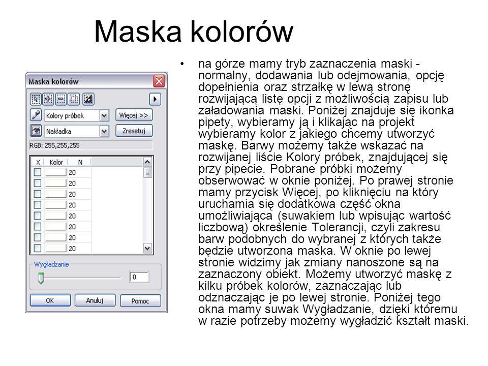 Maska kolorów na górze mamy tryb zaznaczenia maski - normalny, dodawania lub odejmowania, opcję dopełnienia oraz strzałkę w lewą stronę rozwijającą li