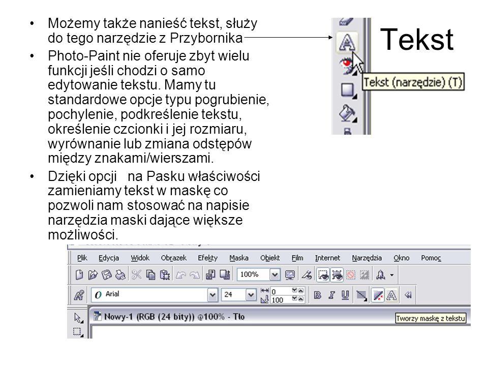 Możemy także nanieść tekst, służy do tego narzędzie z Przybornika Photo-Paint nie oferuje zbyt wielu funkcji jeśli chodzi o samo edytowanie tekstu. Ma