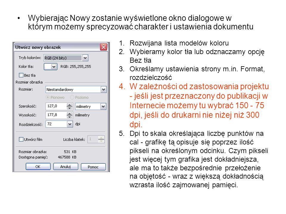 Wybierając Nowy zostanie wyświetlone okno dialogowe w którym możemy sprecyzować charakter i ustawienia dokumentu 1.Rozwijana lista modelów koloru 2.Wy