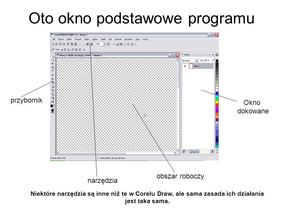 Oto okno podstawowe programu przybornik narzędzia obszar roboczy Niektóre narzędzia są inne niż te w Corelu Draw, ale sama zasada ich działania jest t