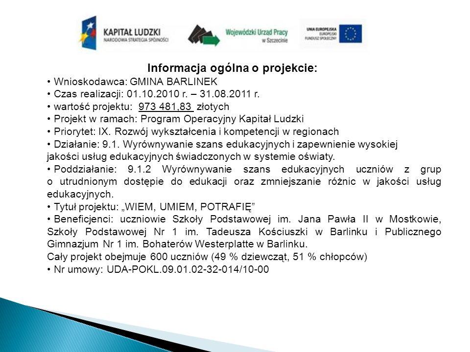 Informacja ogólna o projekcie: Wnioskodawca: GMINA BARLINEK Czas realizacji: 01.10.2010 r.