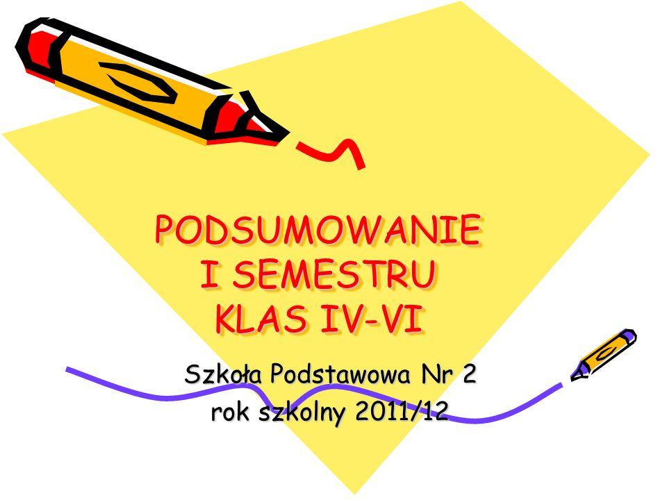 PODSUMOWANIE I SEMESTRU KLAS IV-VI Szkoła Podstawowa Nr 2 rok szkolny 2011/12