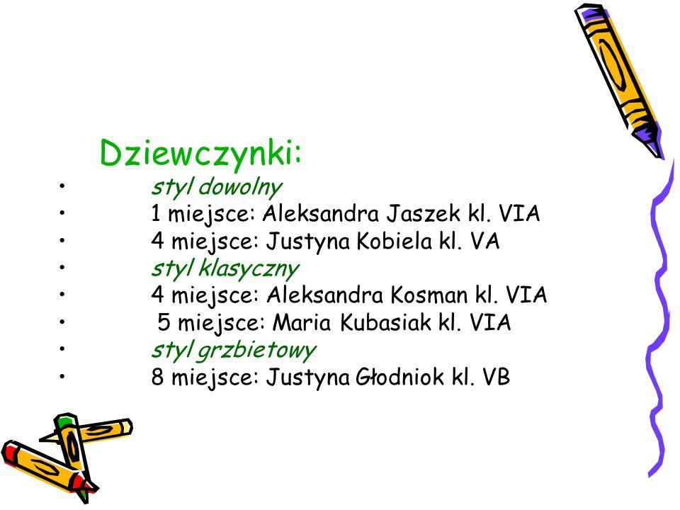 Dziewczynki: styl dowolny 1 miejsce: Aleksandra Jaszek kl. VIA 4 miejsce: Justyna Kobiela kl. VA styl klasyczny 4 miejsce: Aleksandra Kosman kl. VIA 5