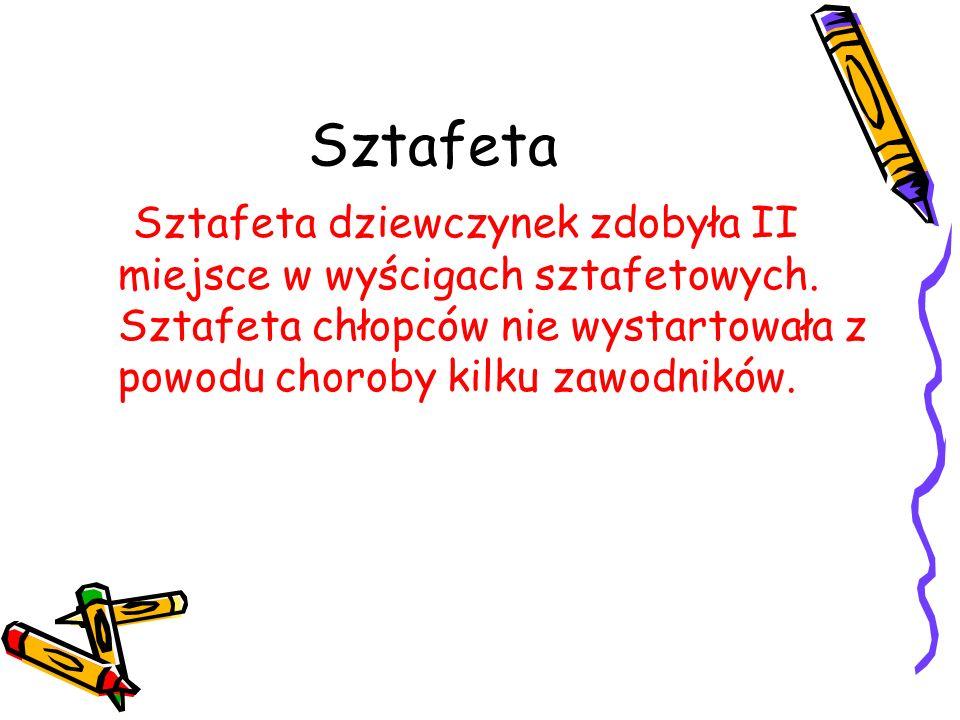 Sztafeta Sztafeta dziewczynek zdobyła II miejsce w wyścigach sztafetowych. Sztafeta chłopców nie wystartowała z powodu choroby kilku zawodników.