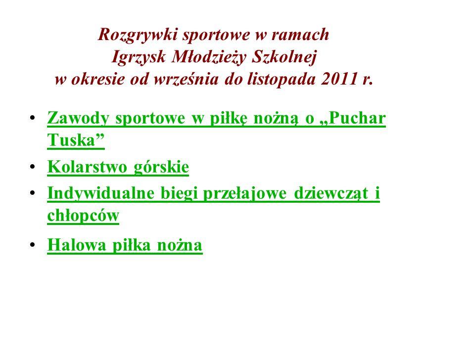 Rozgrywki sportowe w ramach Igrzysk Młodzieży Szkolnej w okresie od września do listopada 2011 r. Zawody sportowe w piłkę nożną o Puchar TuskaZawody s