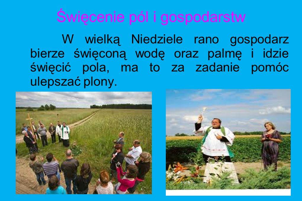Święcenie pól i gospodarstw W wielką Niedziele rano gospodarz bierze święconą wodę oraz palmę i idzie święcić pola, ma to za zadanie pomóc ulepszać pl