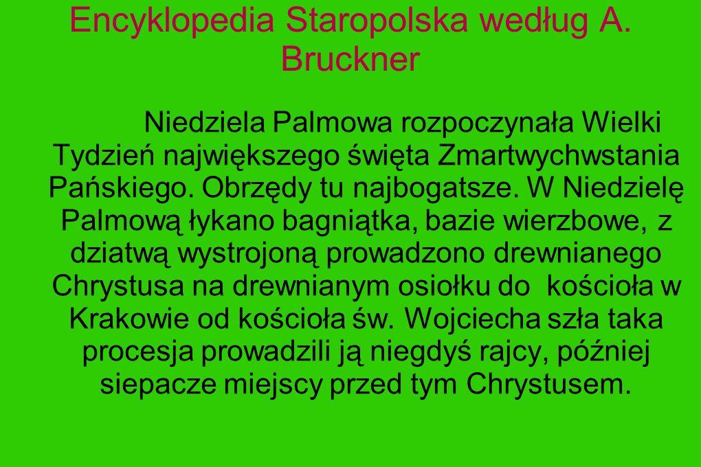 Encyklopedia Staropolska według A. Bruckner Niedziela Palmowa rozpoczynała Wielki Tydzień największego święta Zmartwychwstania Pańskiego. Obrzędy tu n