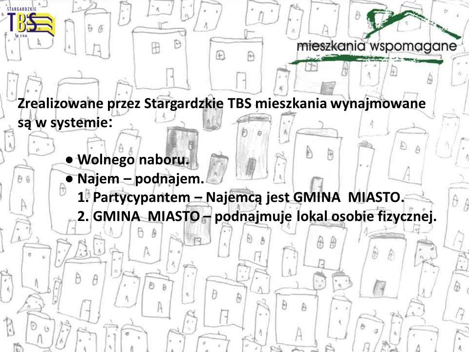 Zrealizowane przez Stargardzkie TBS mieszkania wynajmowane są w systemie : Wolnego naboru. Najem – podnajem. 1. Partycypantem – Najemcą jest GMINA MIA