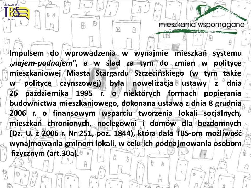 Impulsem do wprowadzenia w wynajmie mieszkań systemunajem-podnajem, a w ślad za tym do zmian w polityce mieszkaniowej Miasta Stargardu Szczecińskiego