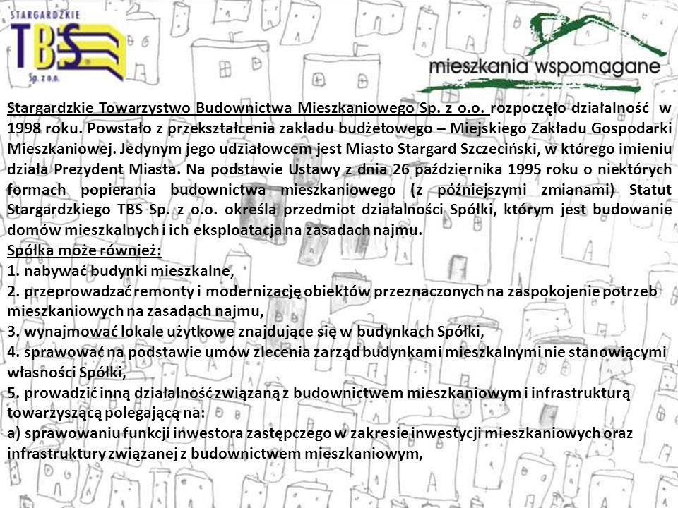 Stargardzkie Towarzystwo Budownictwa Mieszkaniowego Sp. z o.o. rozpoczęło działalność w 1998 roku. Powstało z przekształcenia zakładu budżetowego – Mi