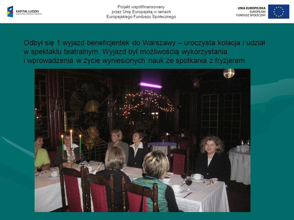 Odbył się 1 wyjazd beneficjentek do Warszawy – uroczysta kolacja i udział w spektaklu teatralnym.