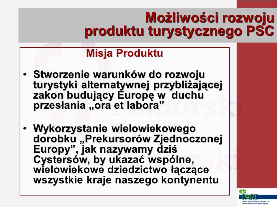 Misja Produktu Stworzenie warunków do rozwoju turystyki alternatywnej przybliżającej zakon budujący Europę w duchu przesłania ora et laboraStworzenie warunków do rozwoju turystyki alternatywnej przybliżającej zakon budujący Europę w duchu przesłania ora et labora Wykorzystanie wielowiekowego dorobku Prekursorów Zjednoczonej Europy, jak nazywamy dziś Cystersów, byWykorzystanie wielowiekowego dorobku Prekursorów Zjednoczonej Europy, jak nazywamy dziś Cystersów, by ukazać wspólne, wielowiekowe dziedzictwo łączące wszystkie kraje naszego kontynentu Możliwości rozwoju produktu turystycznego PSC