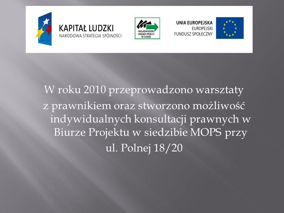 W roku 2010 przeprowadzono warsztaty z prawnikiem oraz stworzono możliwość indywidualnych konsultacji prawnych w Biurze Projektu w siedzibie MOPS przy ul.