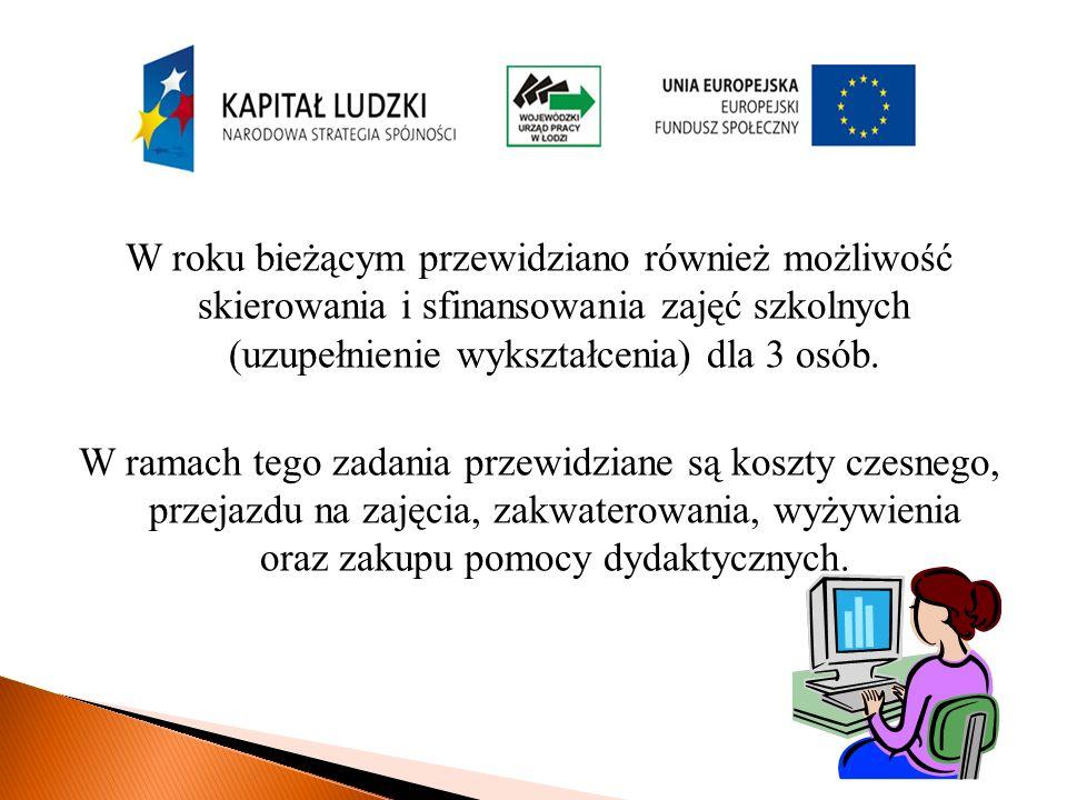 W roku bieżącym przewidziano również możliwość skierowania i sfinansowania zajęć szkolnych (uzupełnienie wykształcenia) dla 3 osób.