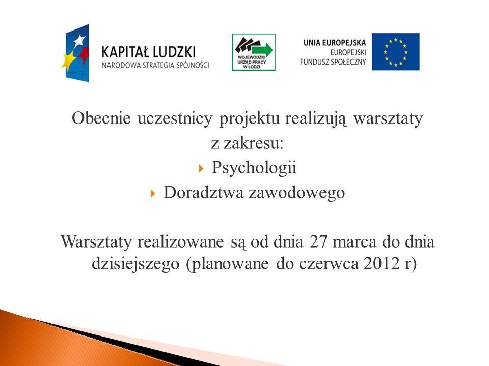 Obecnie uczestnicy projektu realizują warsztaty z zakresu: Psychologii Doradztwa zawodowego Warsztaty realizowane są od dnia 27 marca do dnia dzisiejszego (planowane do czerwca 2012 r)