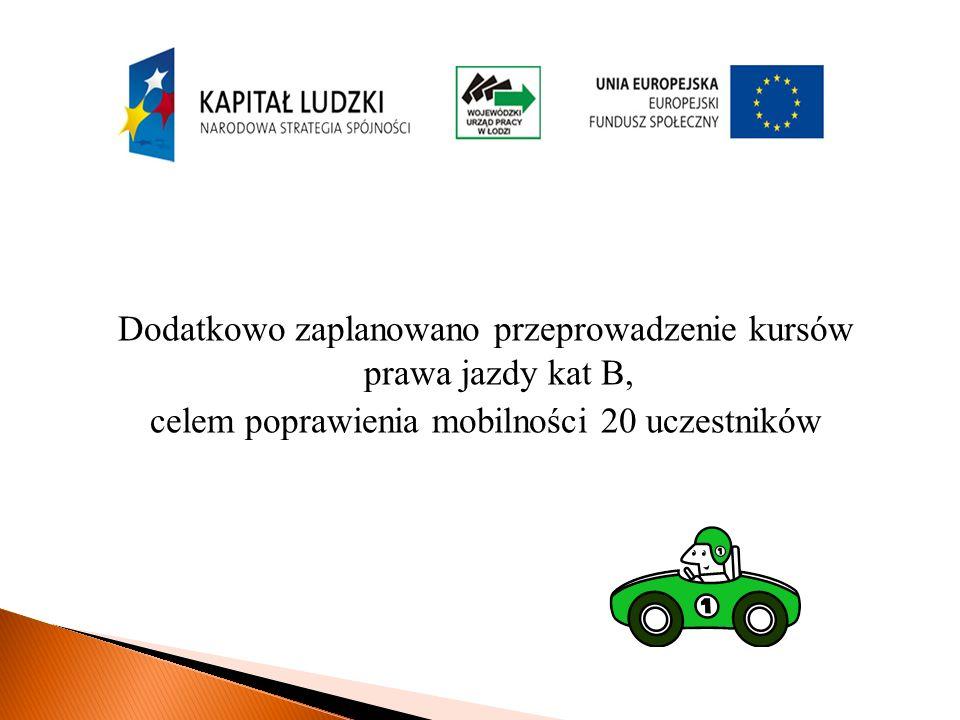 Dodatkowo zaplanowano przeprowadzenie kursów prawa jazdy kat B, celem poprawienia mobilności 20 uczestników