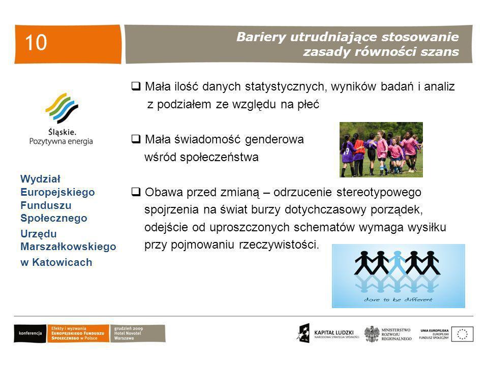 Bariery utrudniające stosowanie zasady równości szans Wydział Europejskiego Funduszu Społecznego Urzędu Marszałkowskiego w Katowicach 10 Mała ilość da