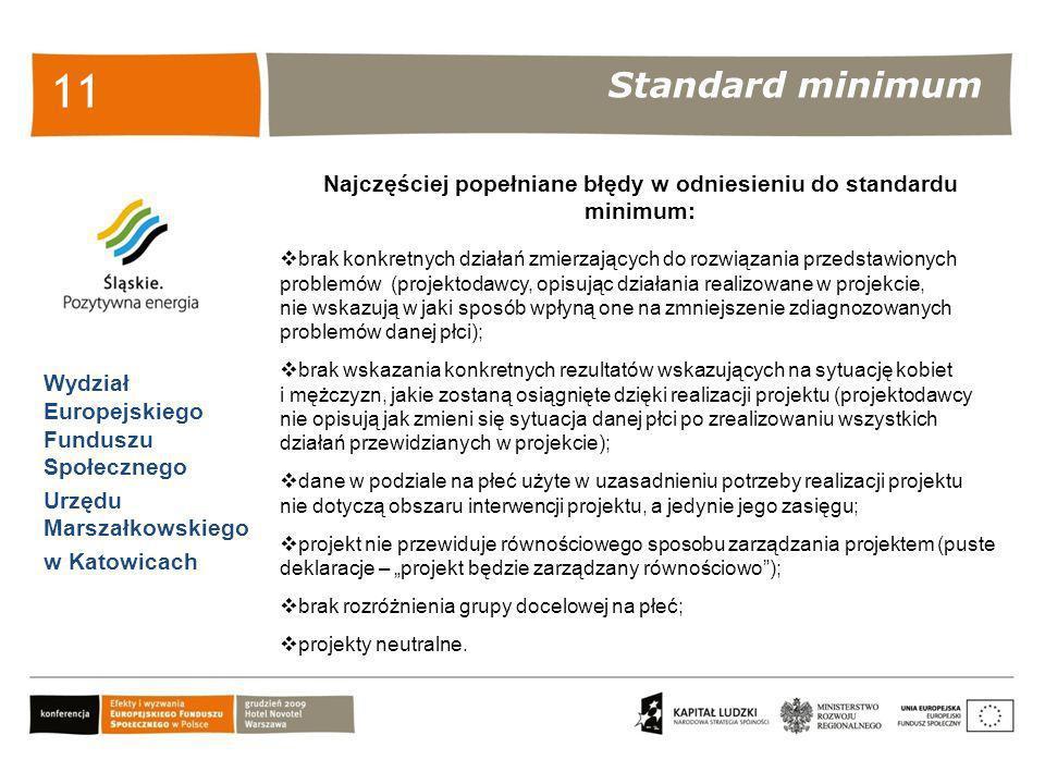Standard minimum Wydział Europejskiego Funduszu Społecznego Urzędu Marszałkowskiego w Katowicach 11 Najczęściej popełniane błędy w odniesieniu do stan