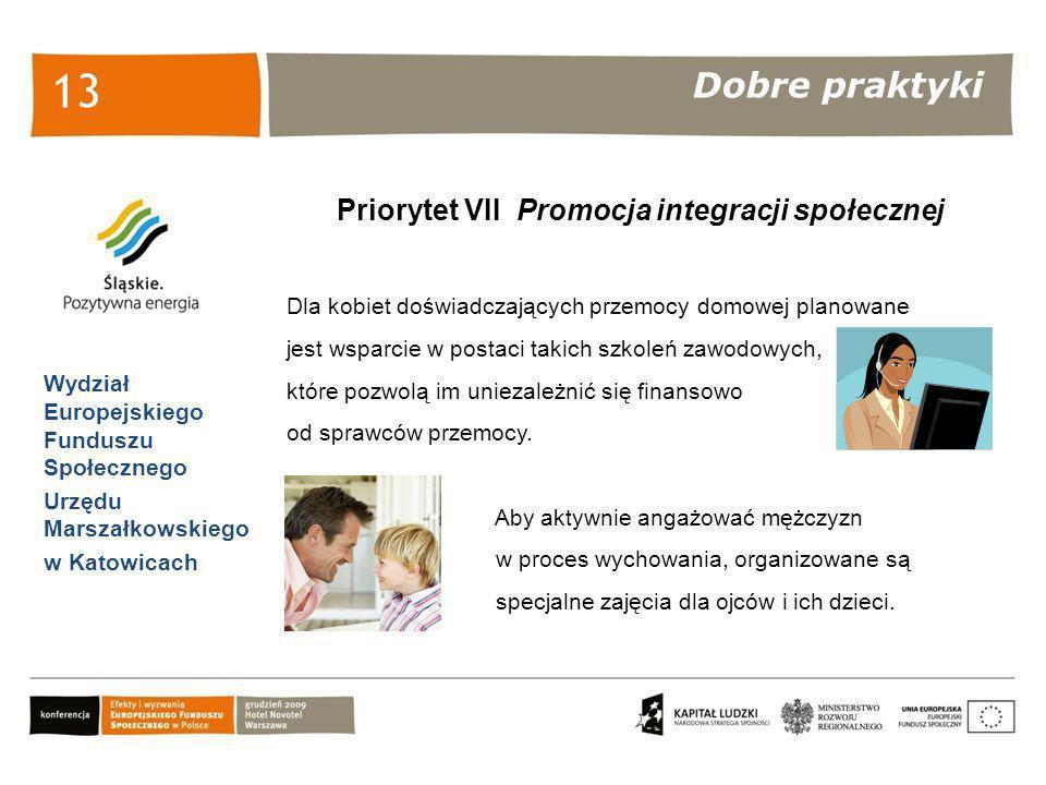 Dobre praktyki Wydział Europejskiego Funduszu Społecznego Urzędu Marszałkowskiego w Katowicach 13 Priorytet VII Promocja integracji społecznej Dla kob