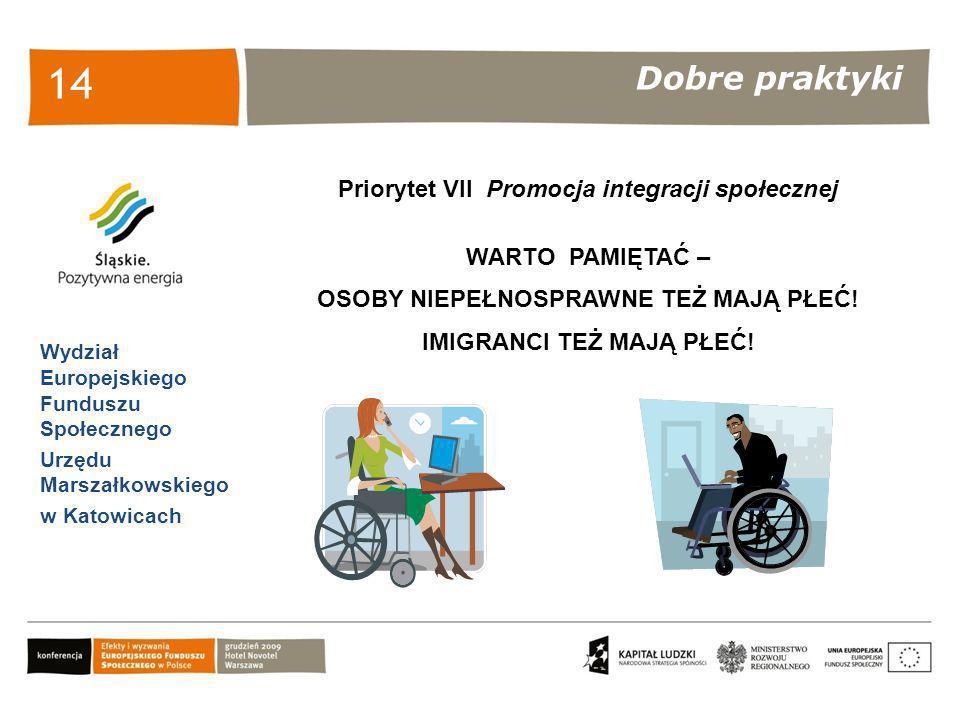 Dobre praktyki Wydział Europejskiego Funduszu Społecznego Urzędu Marszałkowskiego w Katowicach 14 Priorytet VII Promocja integracji społecznej WARTO P