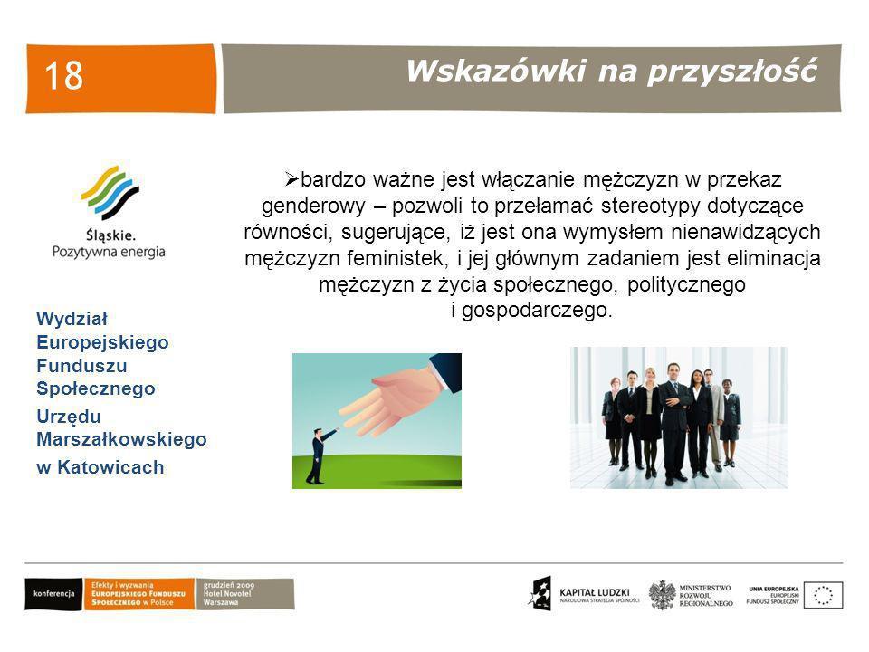 Wskazówki na przyszłość Wydział Europejskiego Funduszu Społecznego Urzędu Marszałkowskiego w Katowicach 18 bardzo ważne jest włączanie mężczyzn w prze