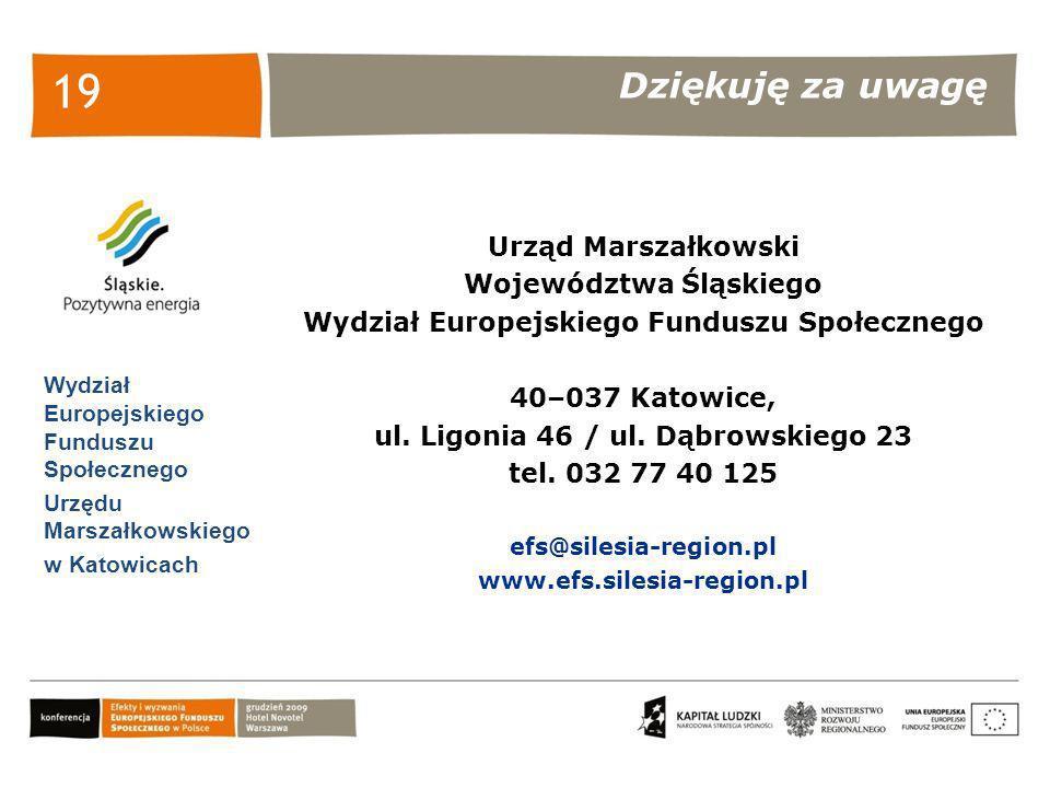 Dziękuję za uwagę Wydział Europejskiego Funduszu Społecznego Urzędu Marszałkowskiego w Katowicach 19 Urząd Marszałkowski Województwa Śląskiego Wydział