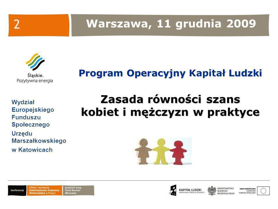 Warszawa, 11 grudnia 2009 Wydział Europejskiego Funduszu Społecznego Urzędu Marszałkowskiego w Katowicach Program Operacyjny Ludzki Program Operacyjny