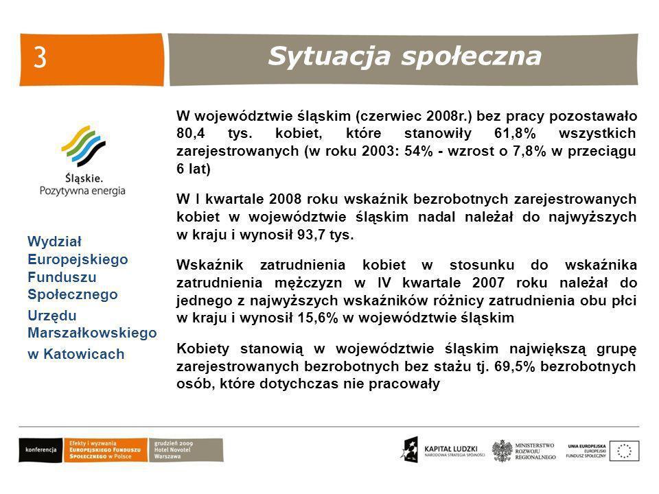 Sytuacja społeczna Wydział Europejskiego Funduszu Społecznego Urzędu Marszałkowskiego w Katowicach 3 W województwie śląskim (czerwiec 2008r.) bez prac
