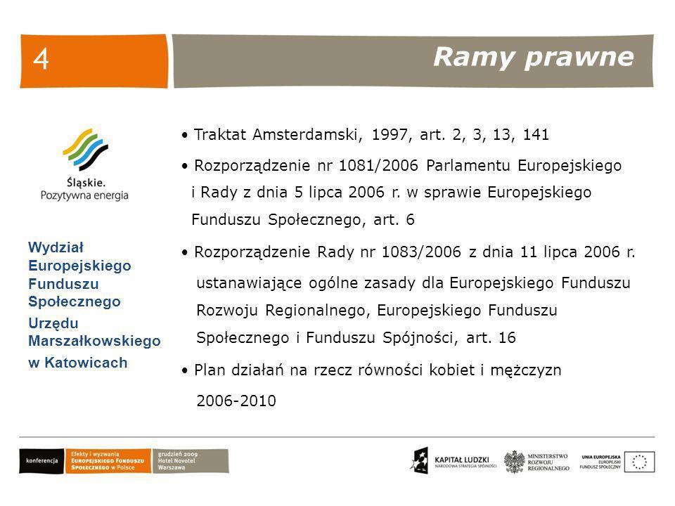 Ramy prawne Wydział Europejskiego Funduszu Społecznego Urzędu Marszałkowskiego w Katowicach 4 Traktat Amsterdamski, 1997, art. 2, 3, 13, 141 Rozporząd