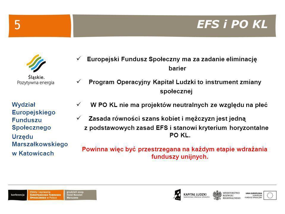 EFS i PO KL Wydział Europejskiego Funduszu Społecznego Urzędu Marszałkowskiego w Katowicach 5 Europejski Fundusz Społeczny ma za zadanie eliminację ba