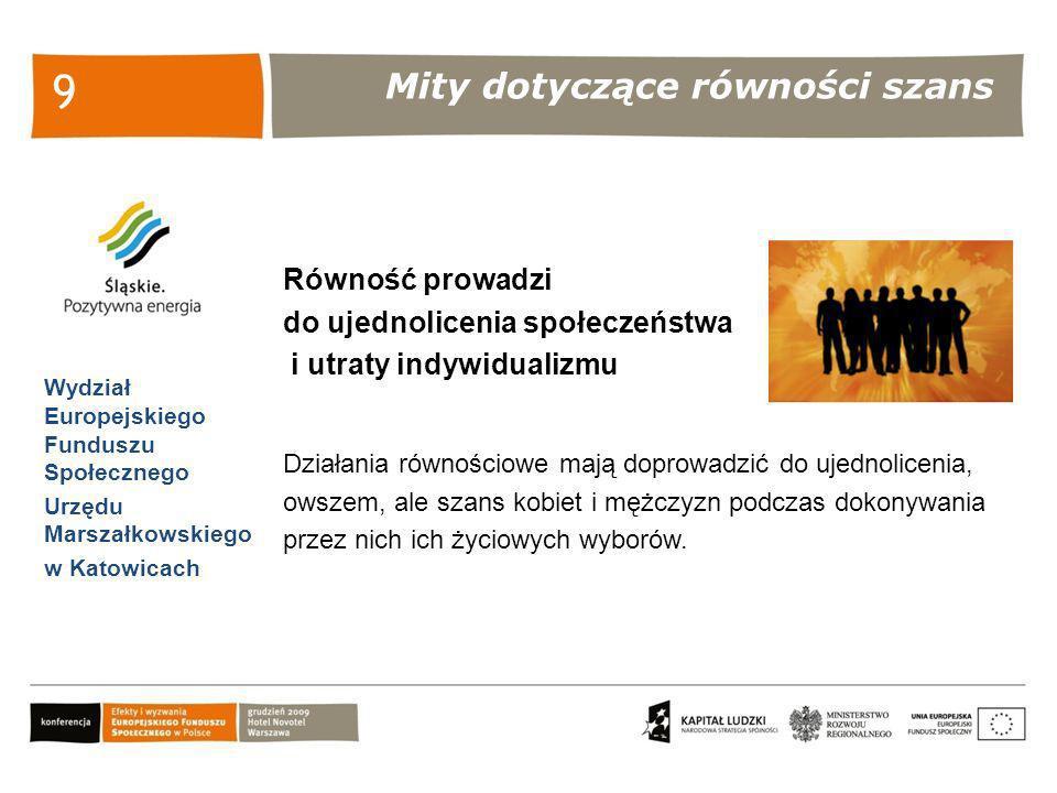 Bariery utrudniające stosowanie zasady równości szans Wydział Europejskiego Funduszu Społecznego Urzędu Marszałkowskiego w Katowicach 10 Mała ilość danych statystycznych, wyników badań i analiz z podziałem ze względu na płeć Mała świadomość genderowa wśród społeczeństwa Obawa przed zmianą – odrzucenie stereotypowego spojrzenia na świat burzy dotychczasowy porządek, odejście od uproszczonych schematów wymaga wysiłku przy pojmowaniu rzeczywistości.