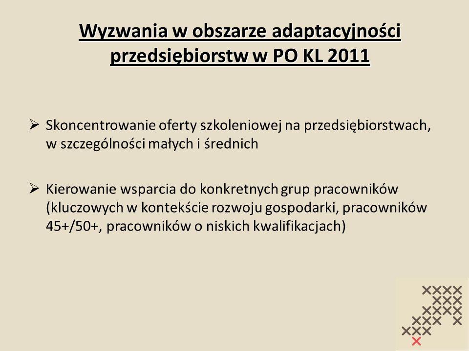 Wyzwania w obszarze adaptacyjności przedsiębiorstw w PO KL 2011 Skoncentrowanie oferty szkoleniowej na przedsiębiorstwach, w szczególności małych i śr