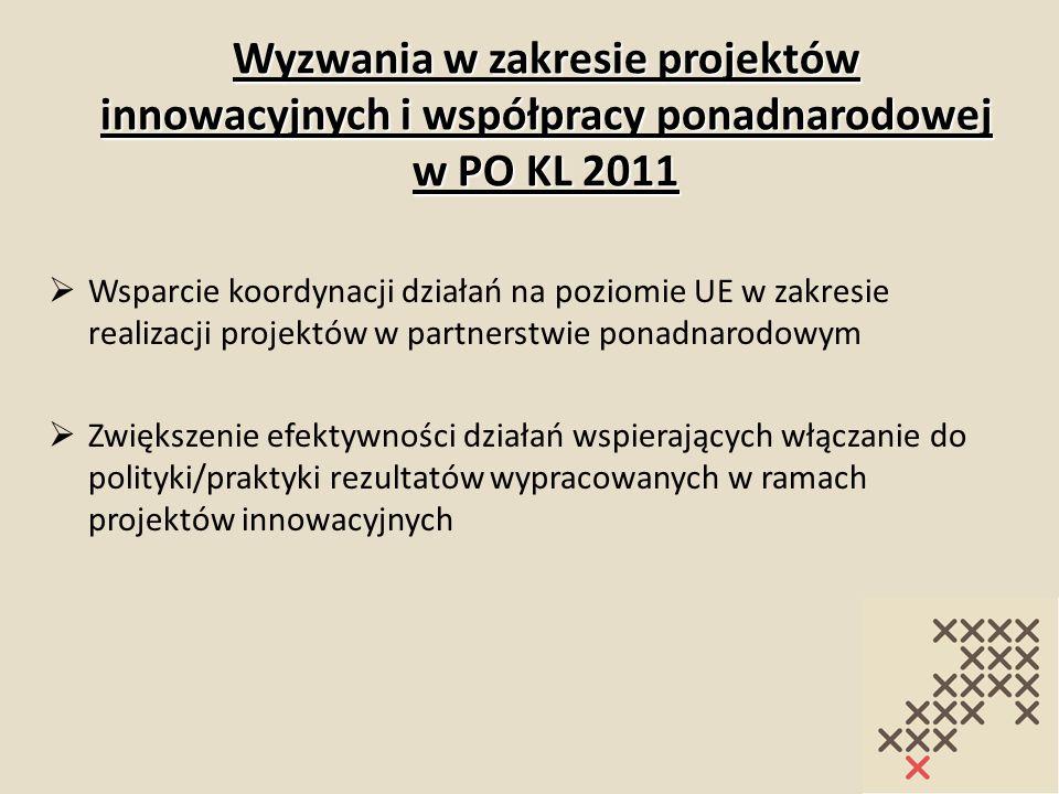 Wyzwania w zakresie projektów innowacyjnych i współpracy ponadnarodowej w PO KL 2011 Wsparcie koordynacji działań na poziomie UE w zakresie realizacji