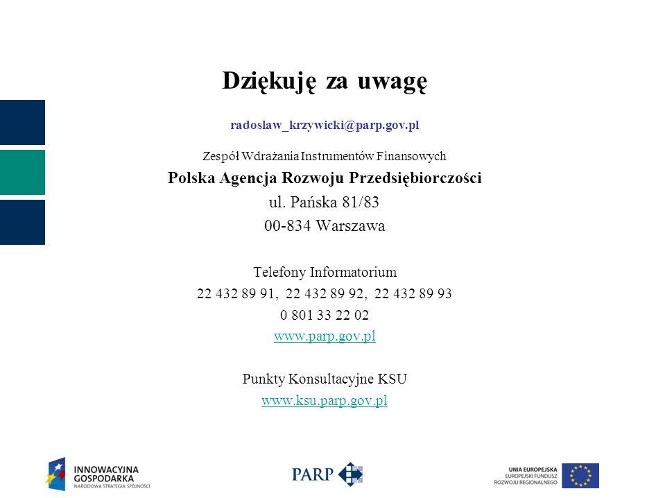 Dziękuję za uwagę radoslaw_krzywicki@parp.gov.pl Zespół Wdrażania Instrumentów Finansowych Polska Agencja Rozwoju Przedsiębiorczości ul. Pańska 81/83