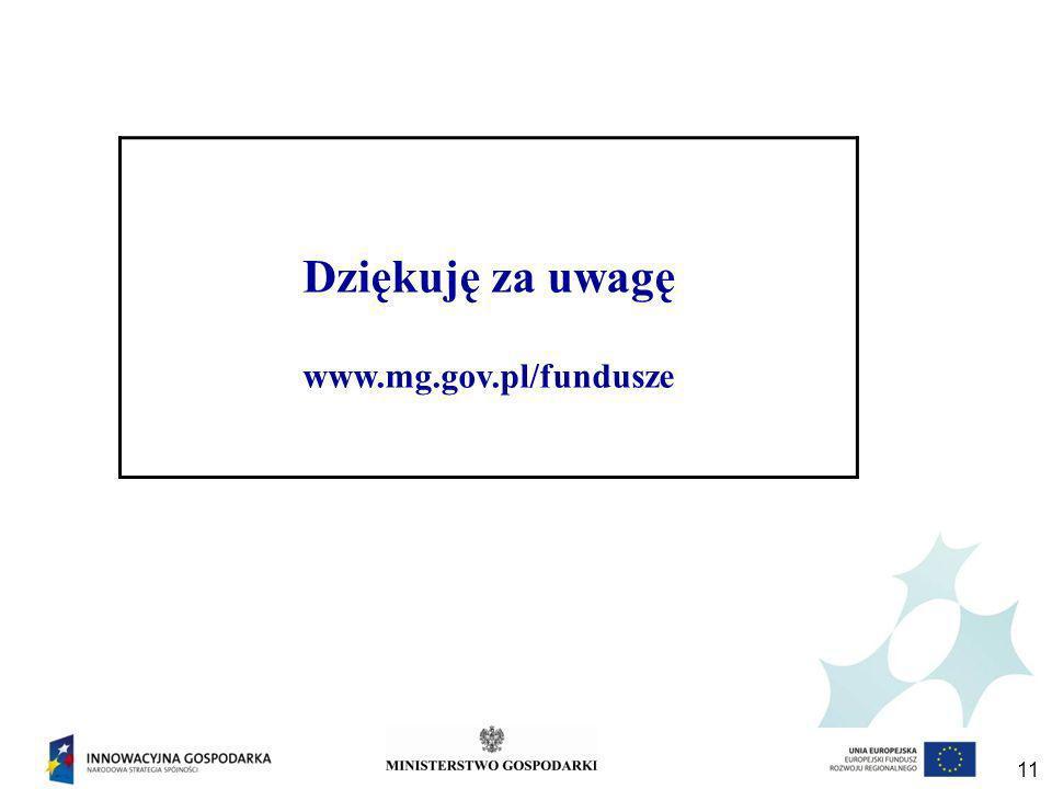 11 Dziękuję za uwagę www.mg.gov.pl/fundusze