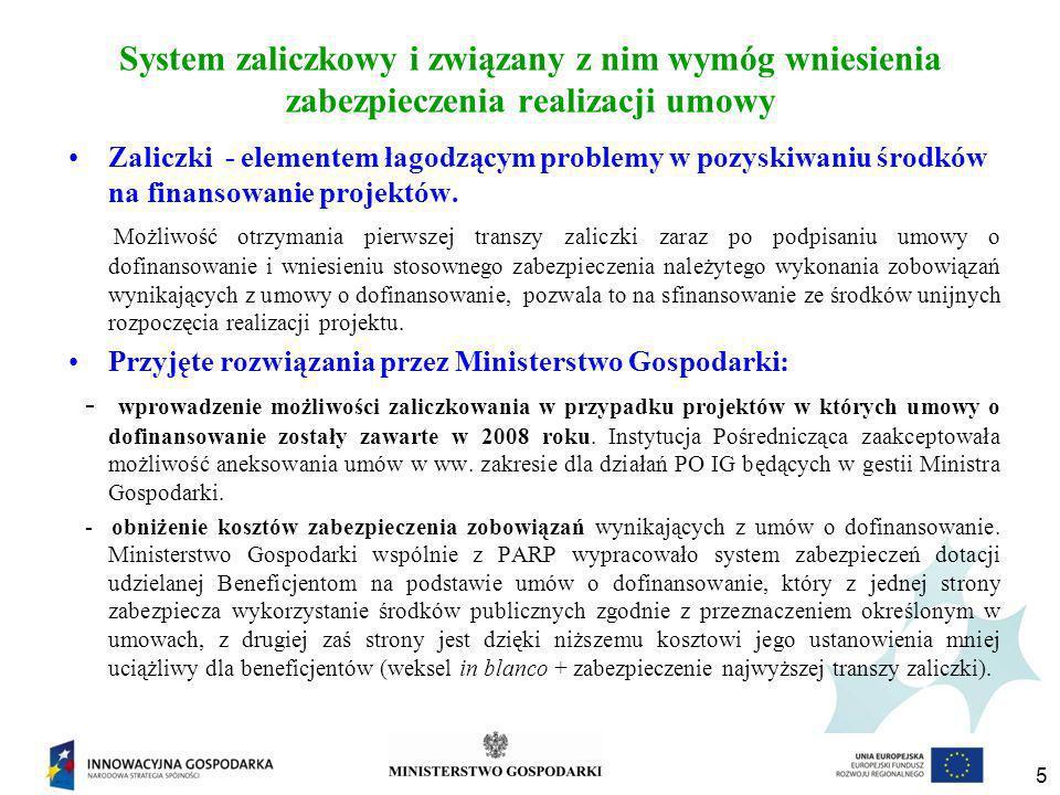 5 System zaliczkowy i związany z nim wymóg wniesienia zabezpieczenia realizacji umowy Zaliczki - elementem łagodzącym problemy w pozyskiwaniu środków na finansowanie projektów.