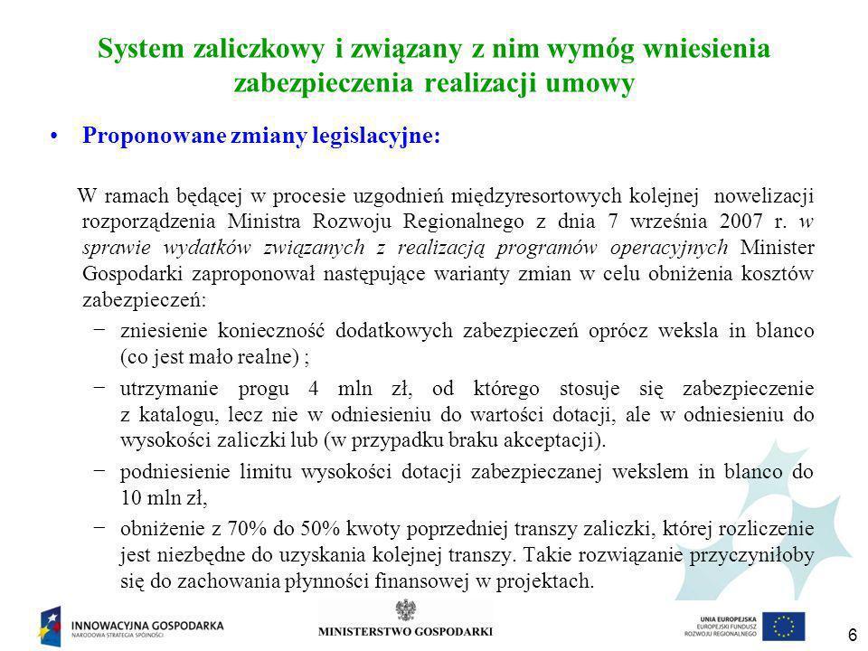 6 System zaliczkowy i związany z nim wymóg wniesienia zabezpieczenia realizacji umowy Proponowane zmiany legislacyjne: W ramach będącej w procesie uzgodnień międzyresortowych kolejnej nowelizacji rozporządzenia Ministra Rozwoju Regionalnego z dnia 7 września 2007 r.