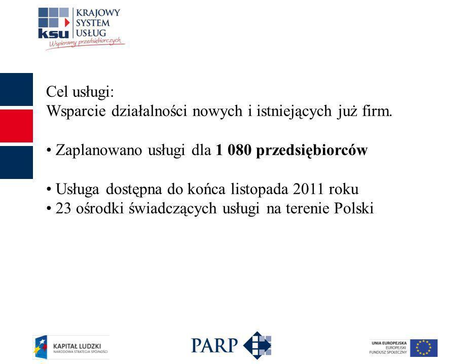 Cel usługi: Wsparcie działalności nowych i istniejących już firm. Zaplanowano usługi dla 1 080 przedsiębiorców Usługa dostępna do końca listopada 2011