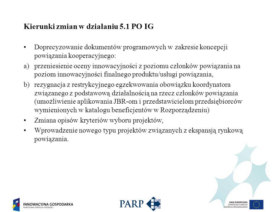 Kierunki zmian w działaniu 5.1 PO IG Doprecyzowanie dokumentów programowych w zakresie koncepcji powiązania kooperacyjnego: a)przeniesienie oceny inno