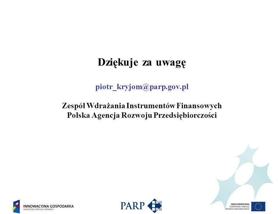 Dziękuje za uwagę piotr_kryjom@parp.gov.pl Zespół Wdrażania Instrumentów Finansowych Polska Agencja Rozwoju Przedsiębiorczości