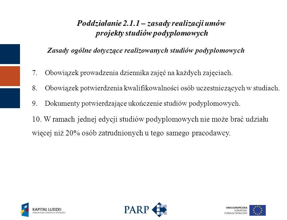 Zasady ogólne dotyczące realizowanych studiów podyplomowych Poddziałanie 2.1.1 – zasady realizacji umów projekty studiów podyplomowych 7.